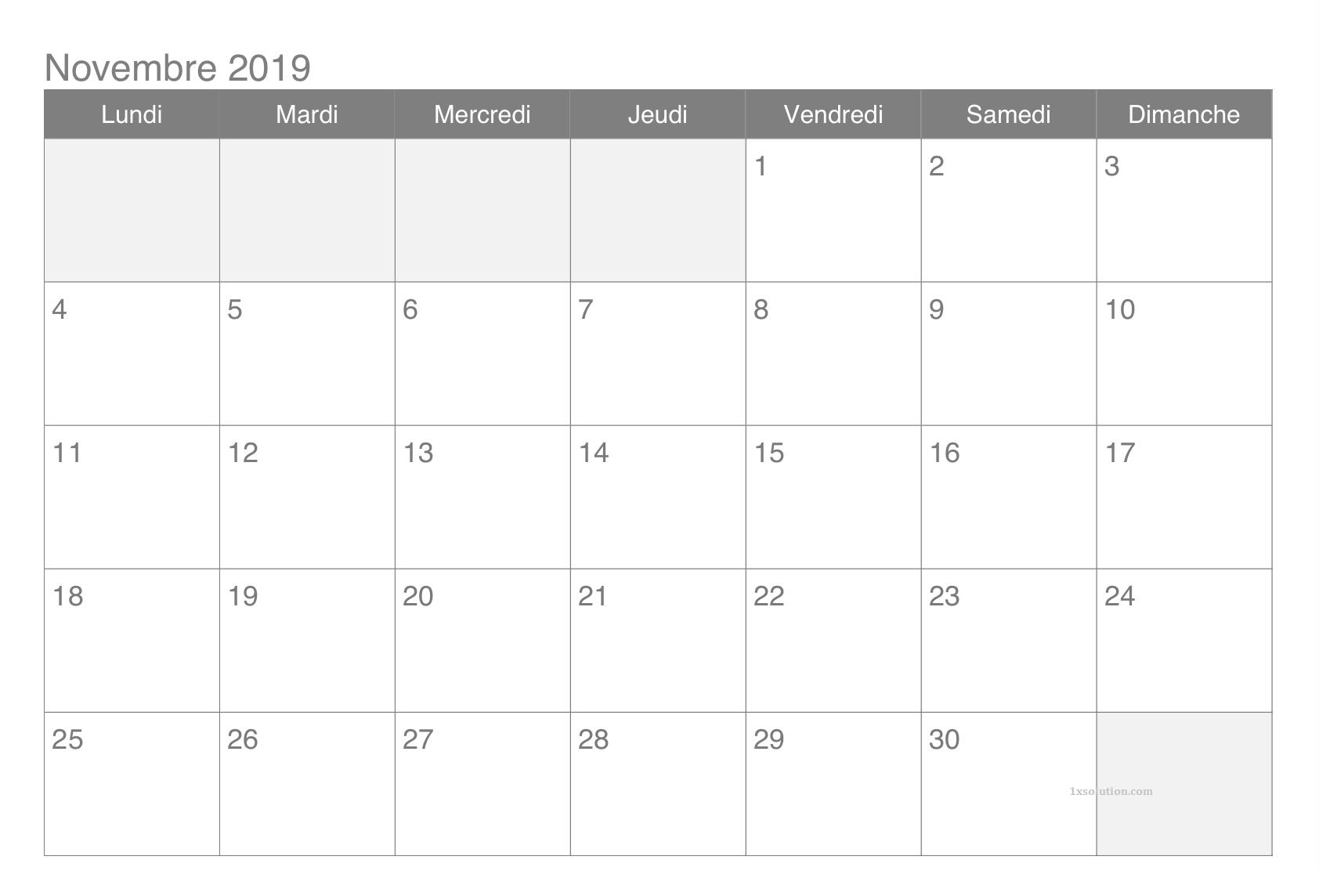 2019 Calendrier Novembre
