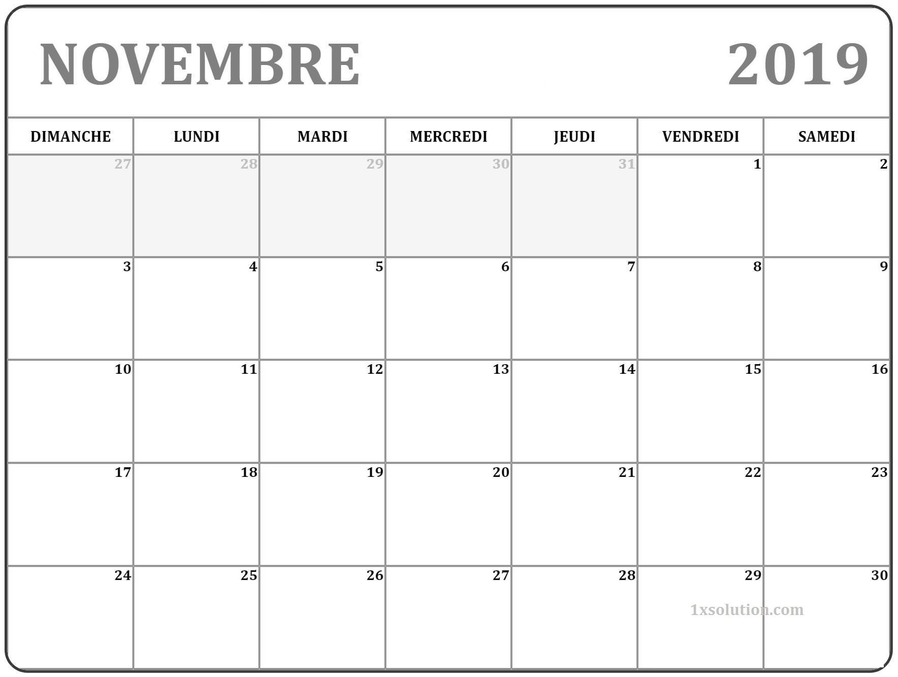 Blanc Novembre Calendrier 2019