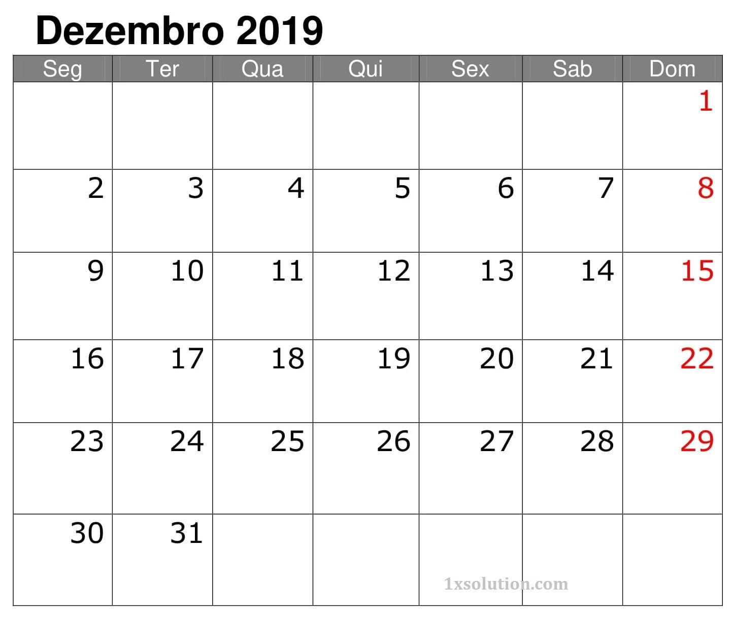 Calendário Dezembro 2019