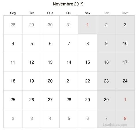Calendário Novembro 2019 Com Feriados
