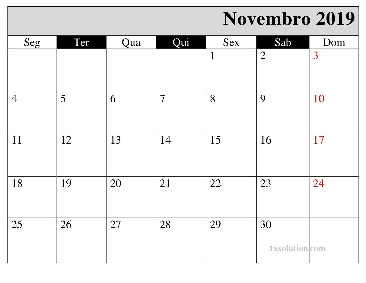 Calendário Novembro 2019 Imprimir