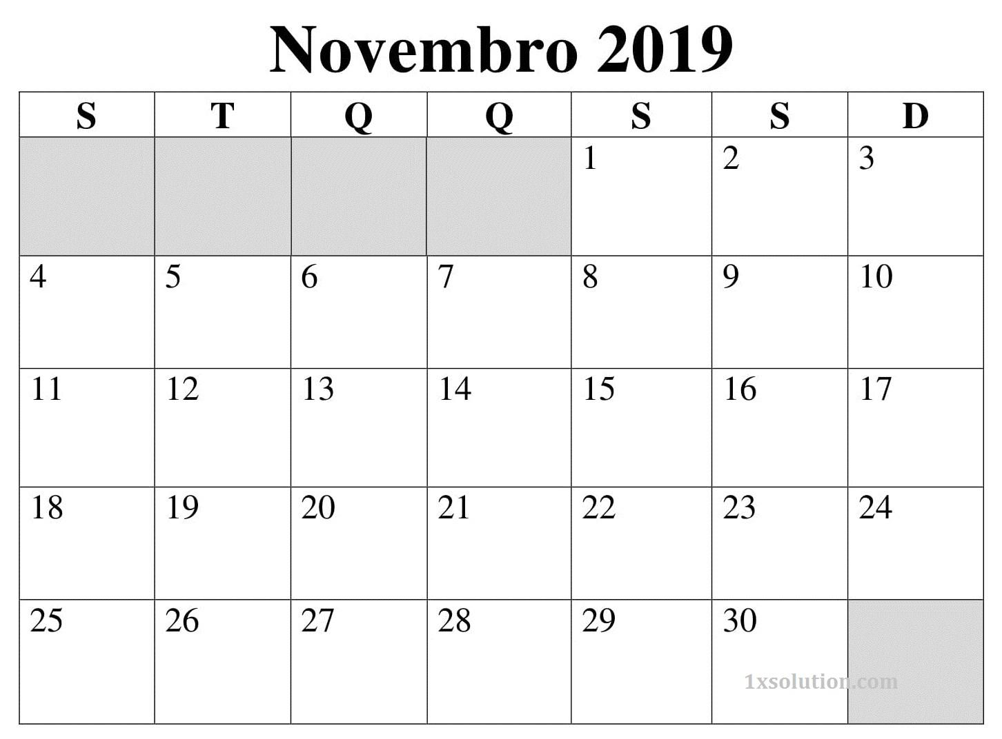 Calendário Novembro 2019 Imprimir PDF