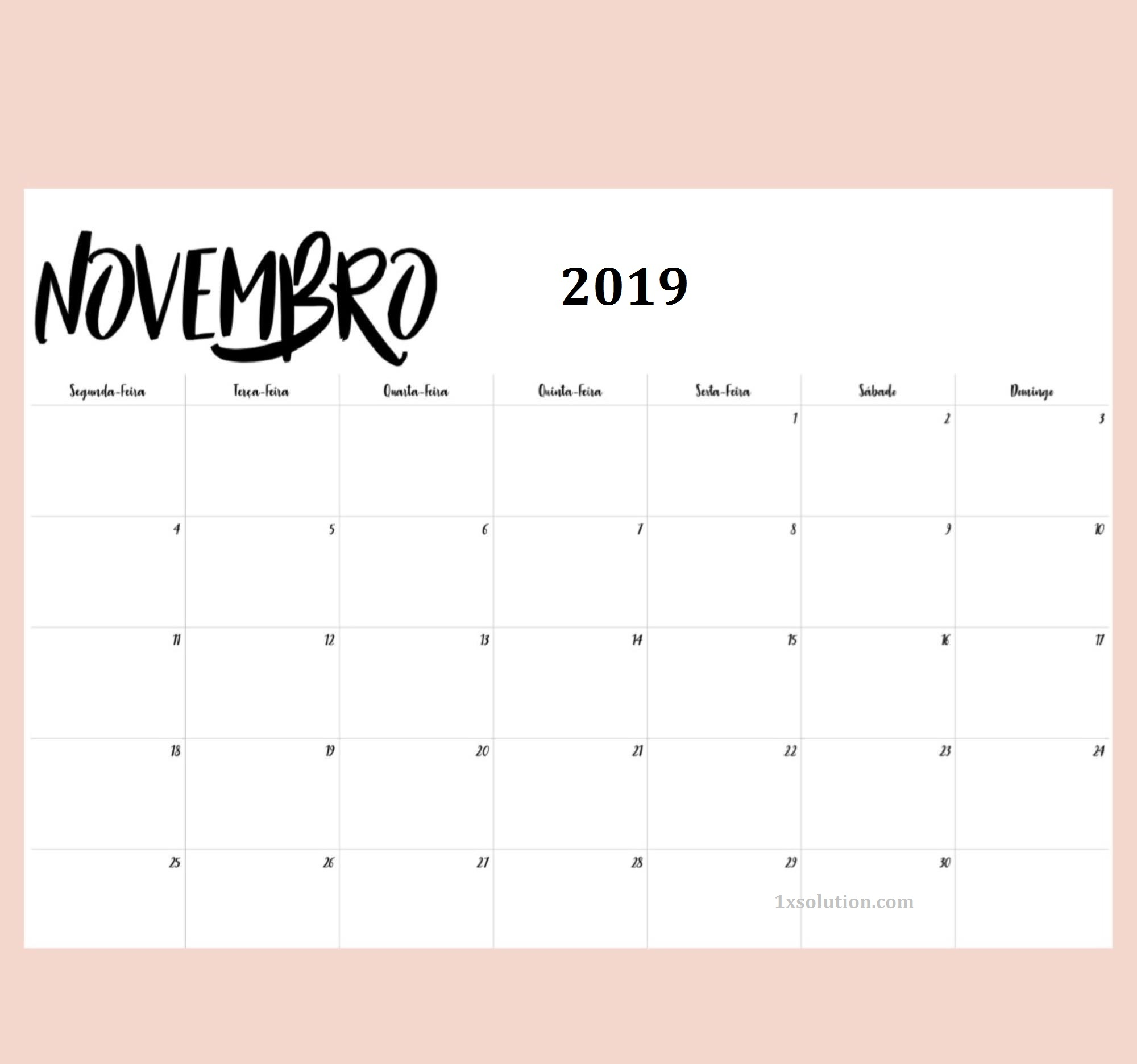 Calendário Novembro 2019 Mesa