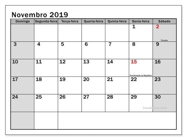 Calendário Novembro 2019 PDF
