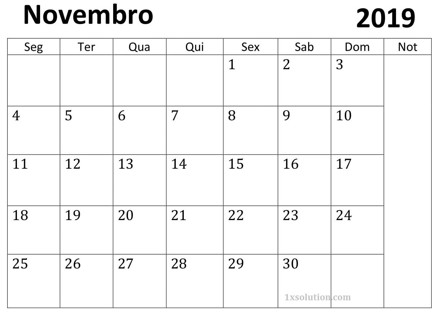 Calendário Novembro 2019 Para Imprimir Feriados