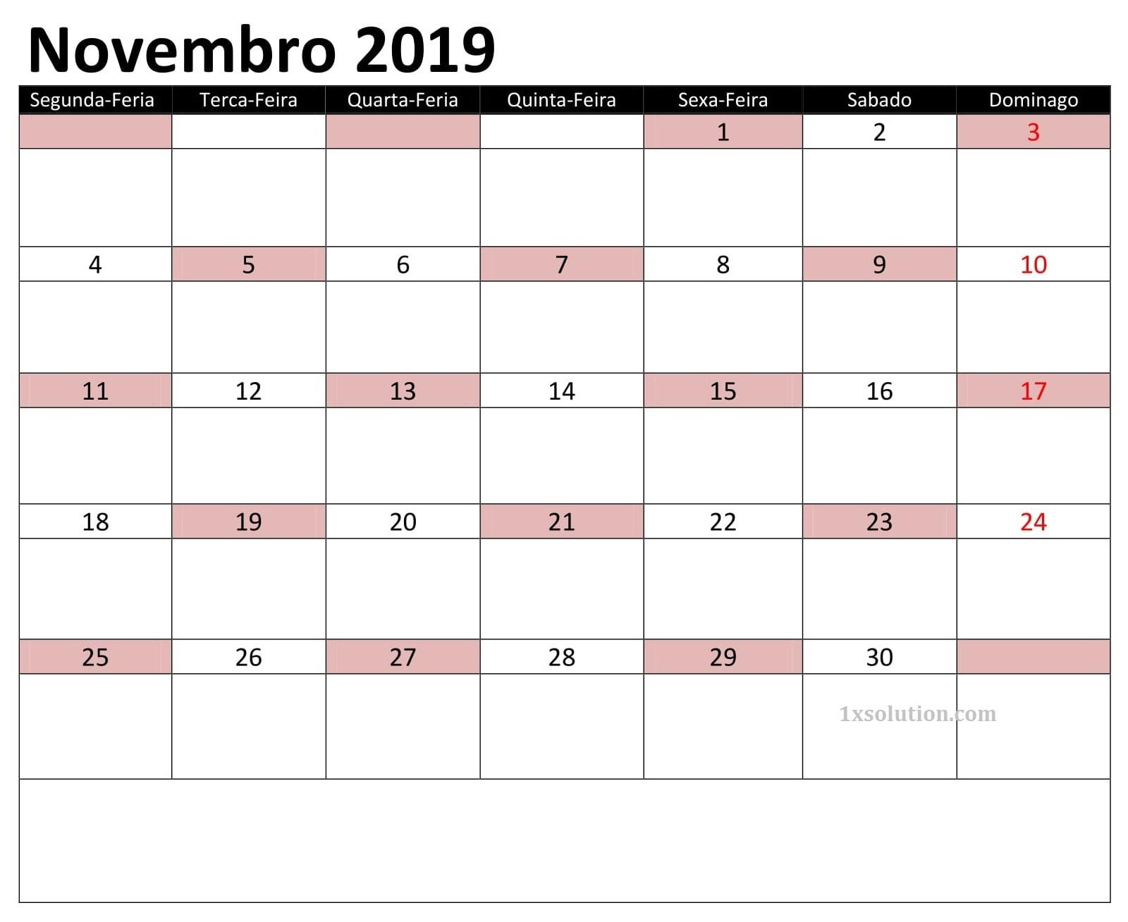 Calendário Novembro 2019 Para Imprimir Livre