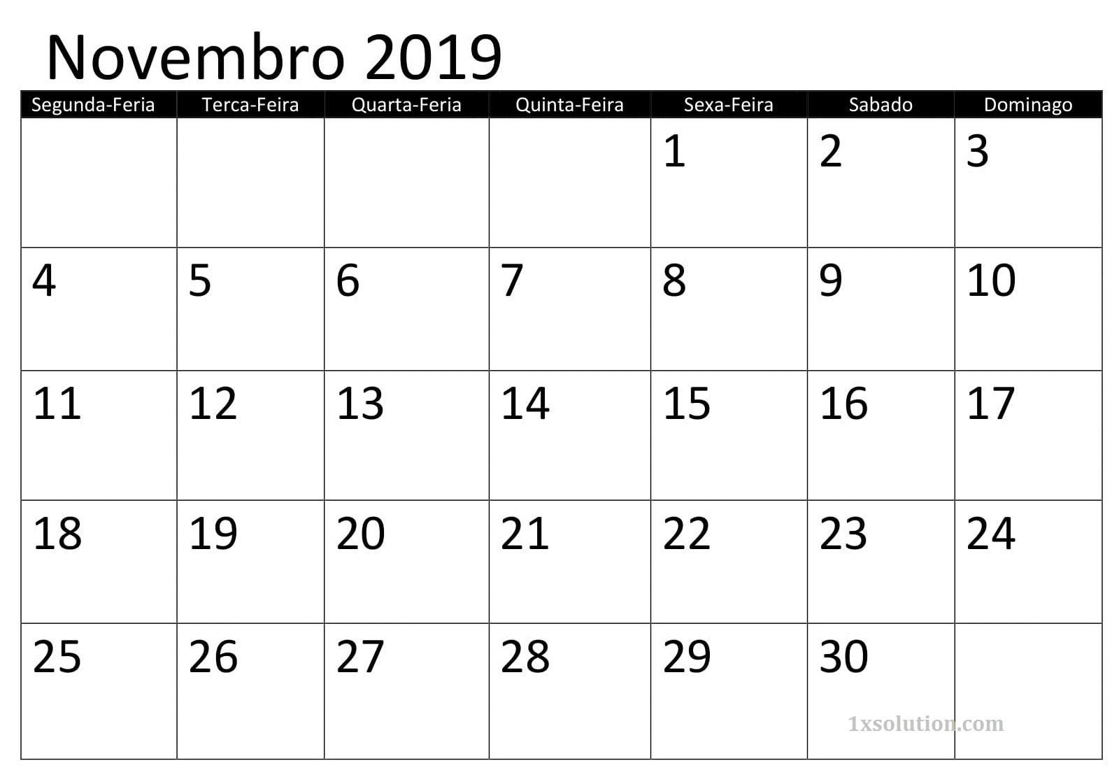 Calendário Novembro 2019 Para Imprimir Motas