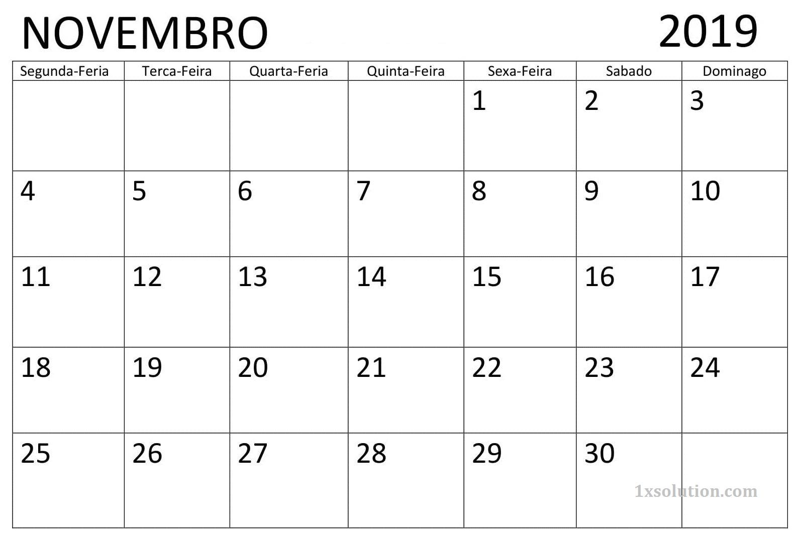 Calendário Novembro 2019 Vertical