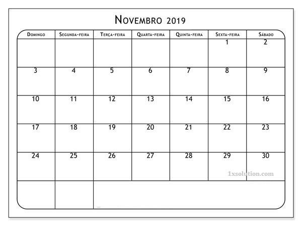 Calendário Novembro 2019 Word