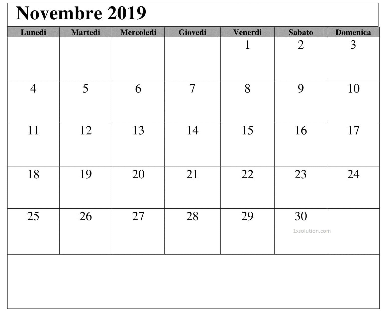 Calendario 2019 Novembre Da Stampare