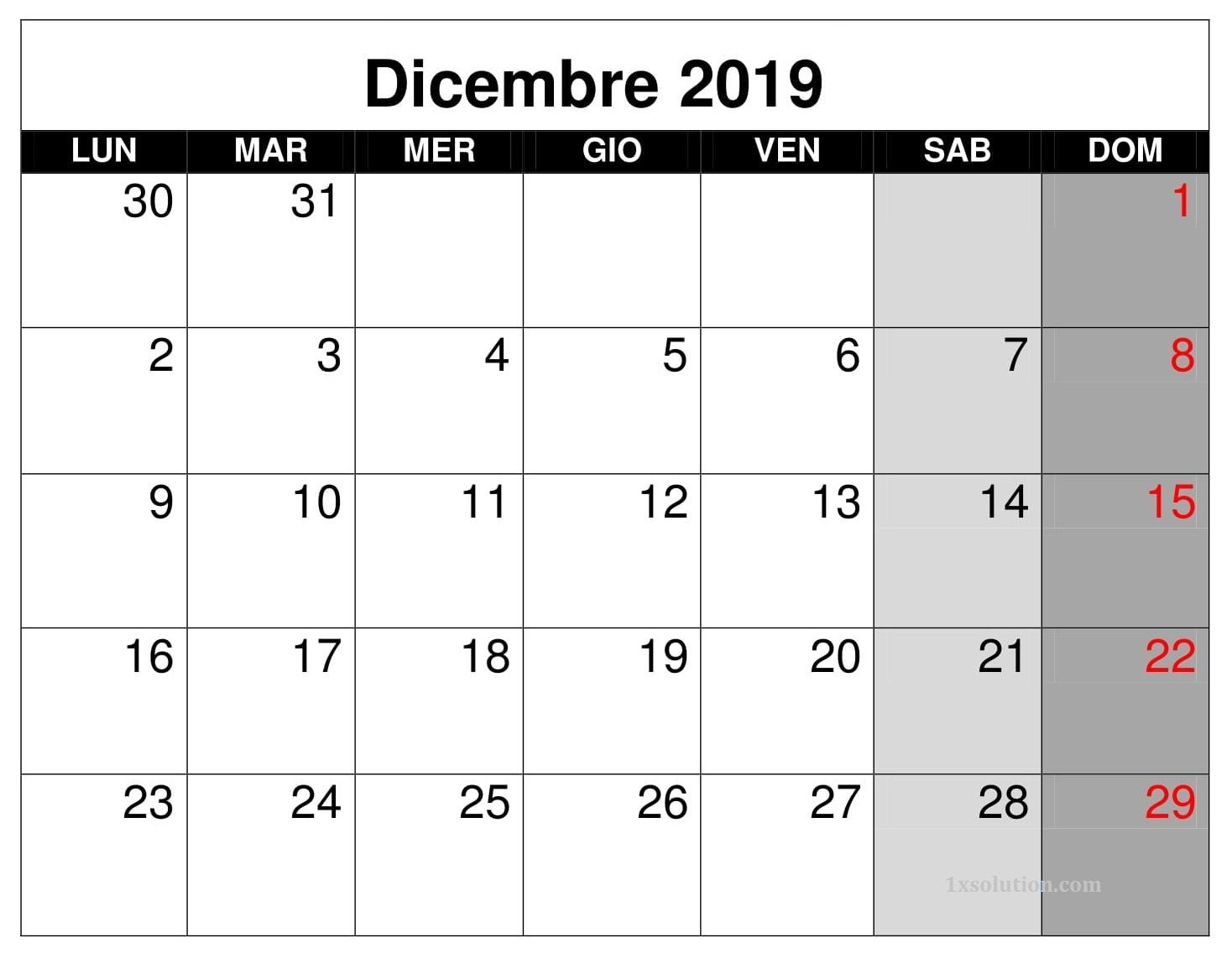 Calendario Dicembre 2019 Word