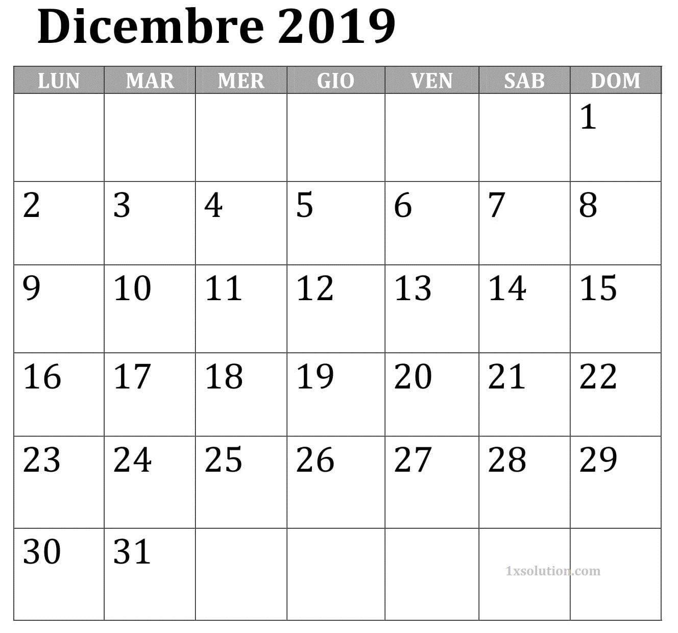 Calendario Dicembre 2019