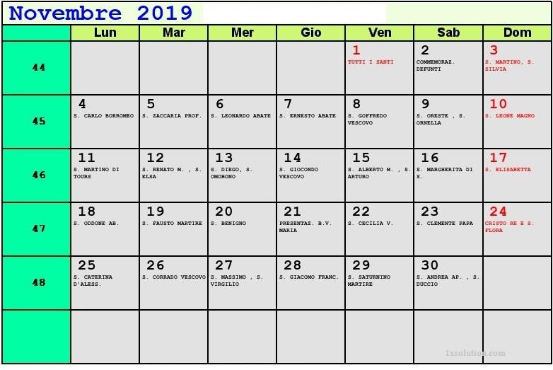 Calendario Novembre 2019