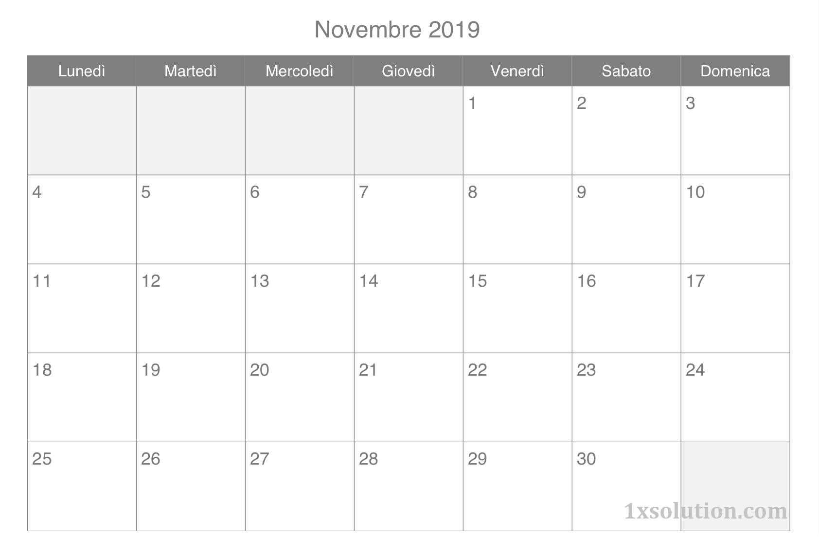 Calendario Novembre 2019 Con Note
