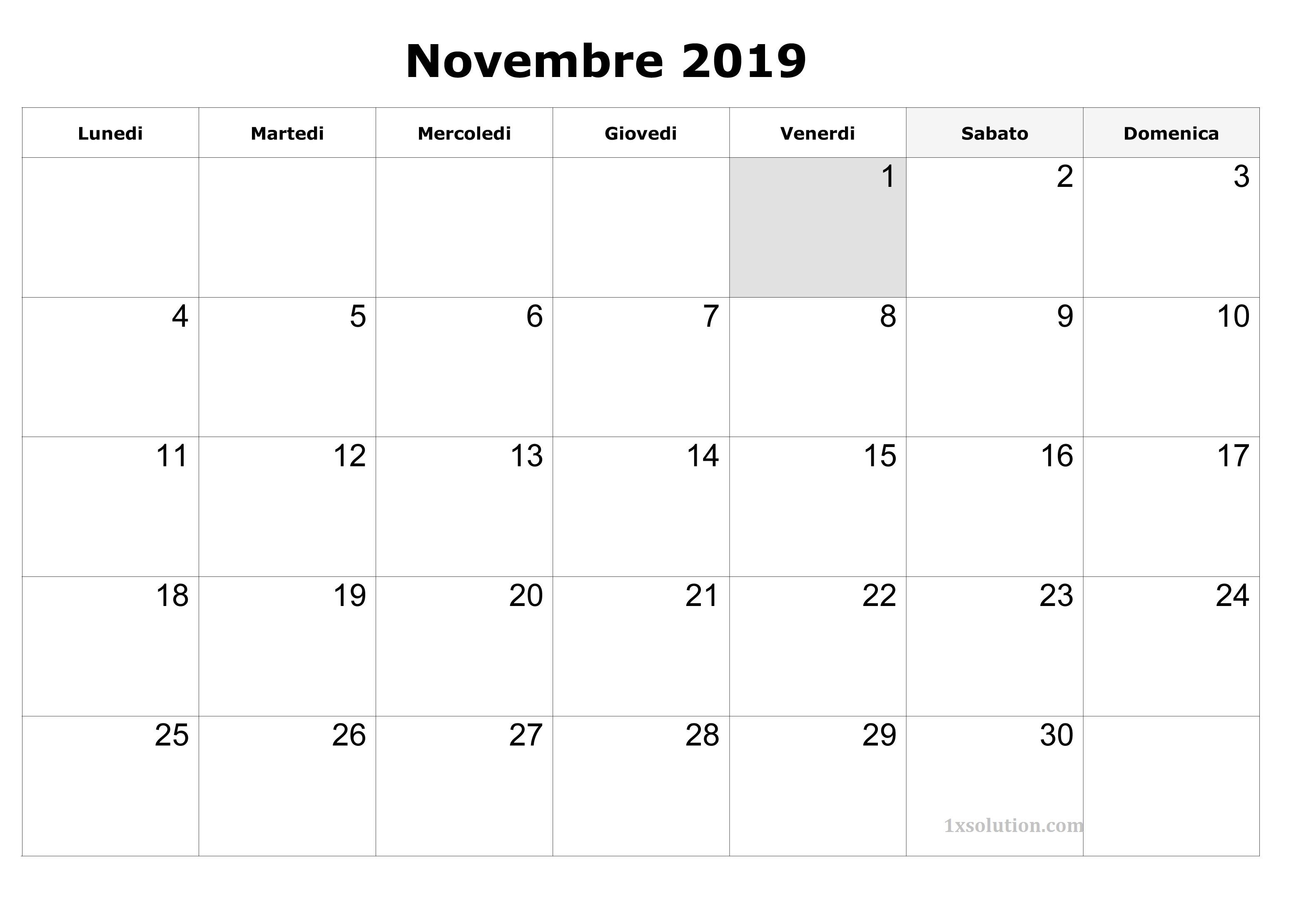 Calendario Novembre 2019 Grande