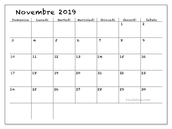Calendario Novembre 2019 Modificabile