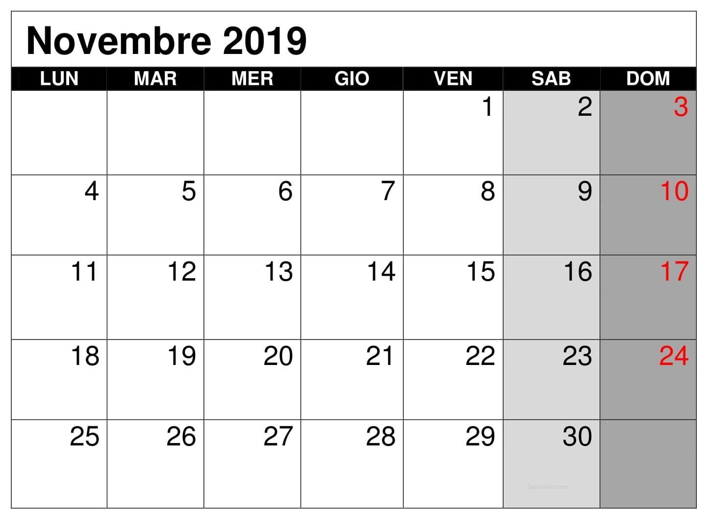 Calendario Novembre 2019 PDF Con Note