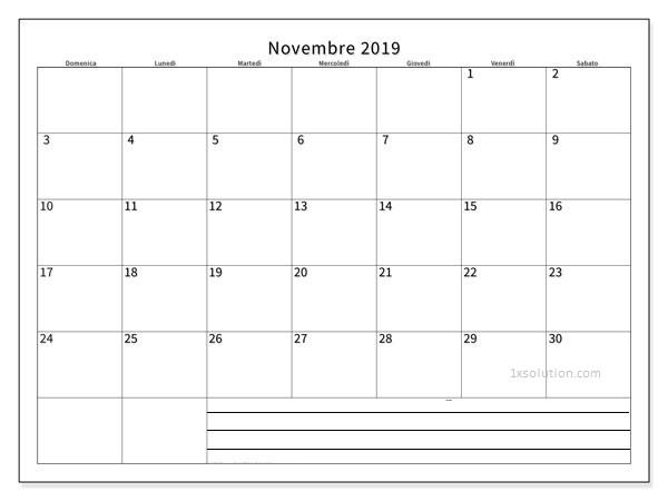 Calendario Novembre 2019 PDF Gratuito
