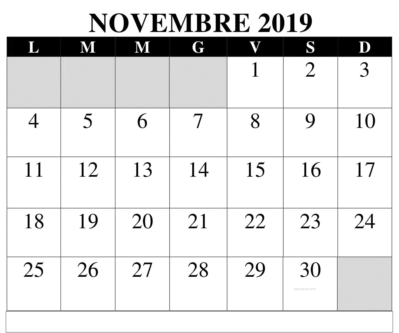 Calendario Novembre 2019 PDF Stampabile