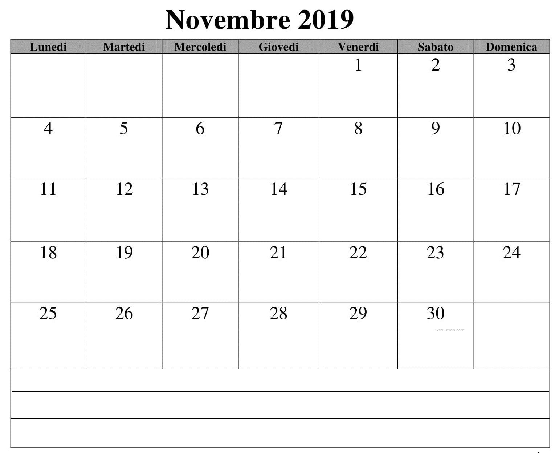 Calendario Novembre 2019 PDF