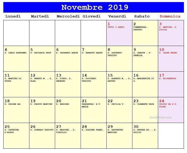 Calendario Novembre 2019 Tavolo