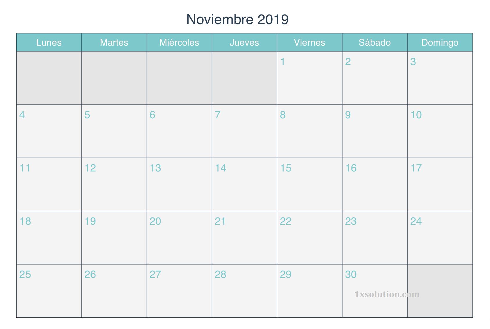 Calendario Noviembre 2019 Argentina Editable