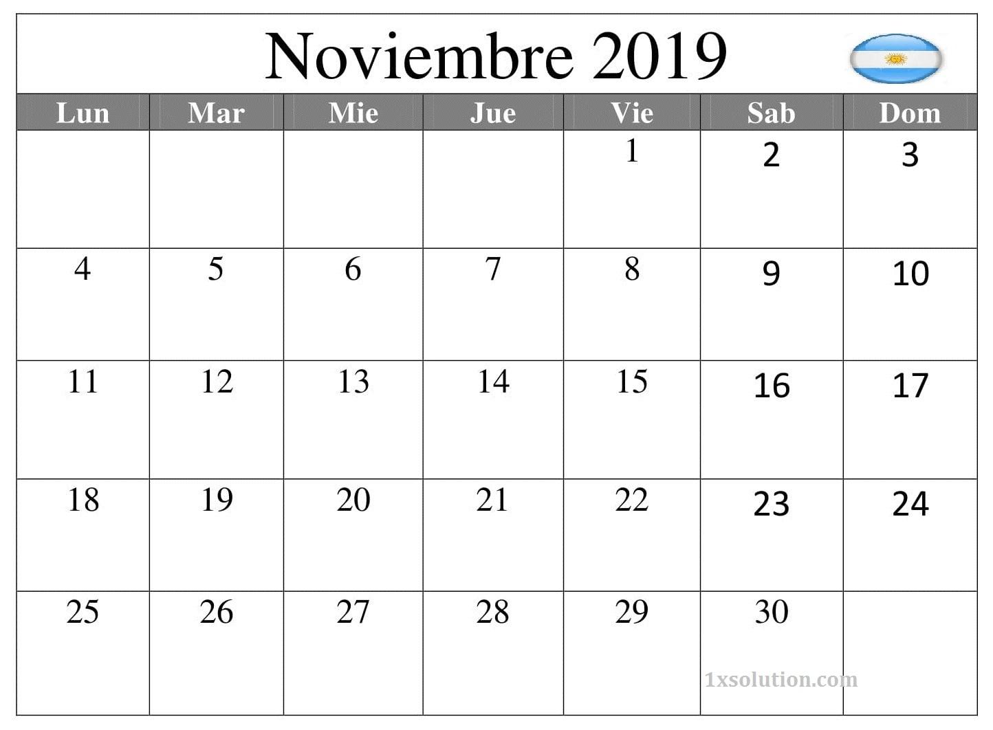 Calendario Noviembre 2019 Argentina Word