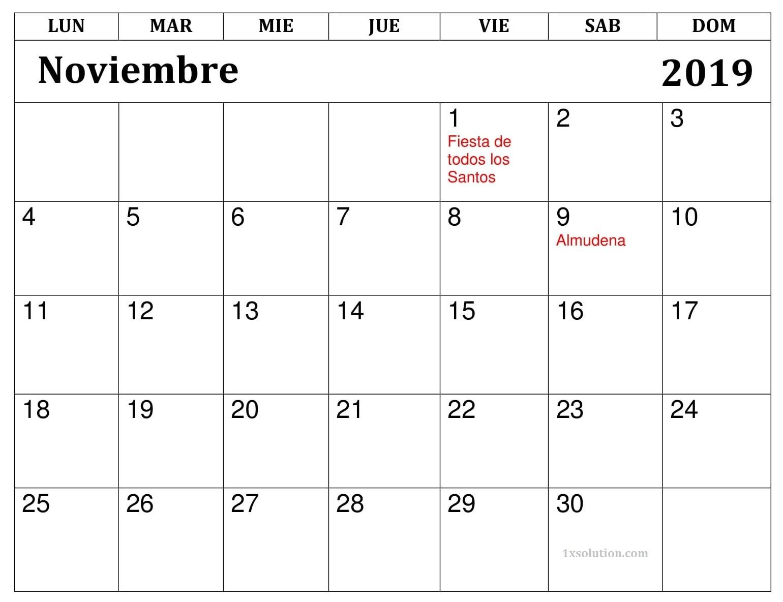 Calendario Noviembre 2019 Con Festivos Chile