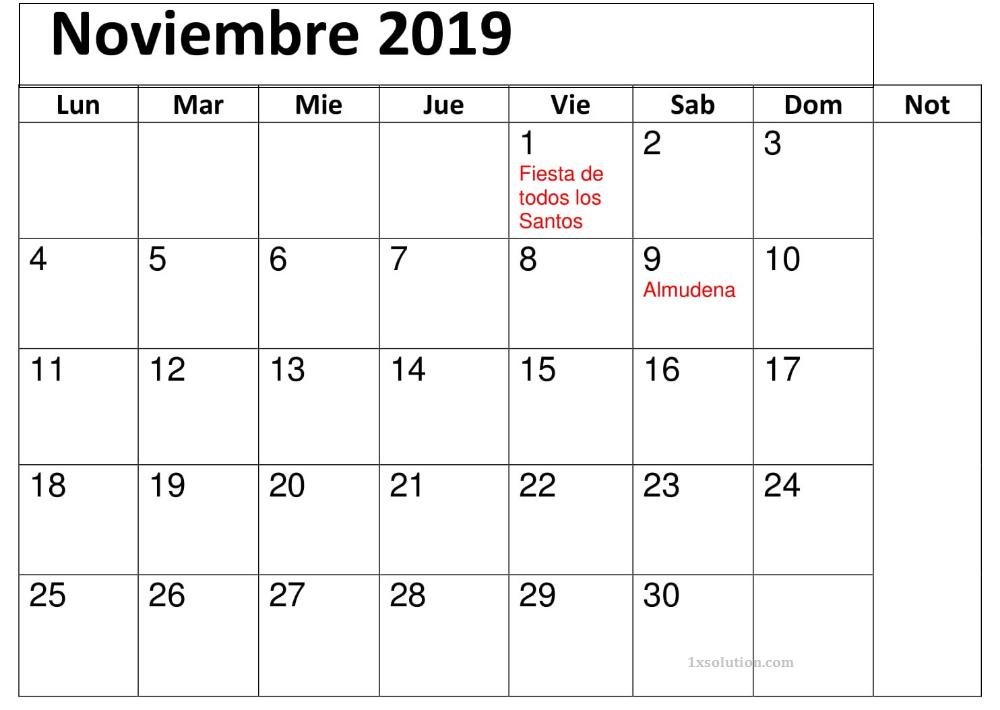 Calendario Noviembre 2019 Con Festivos Editable