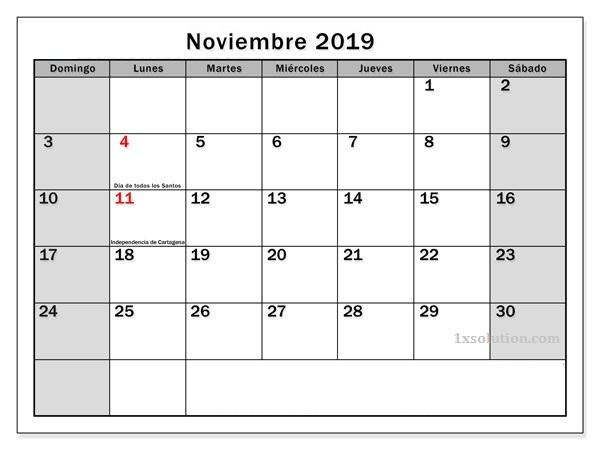 Calendario Noviembre 2019 Con Festivos Mes