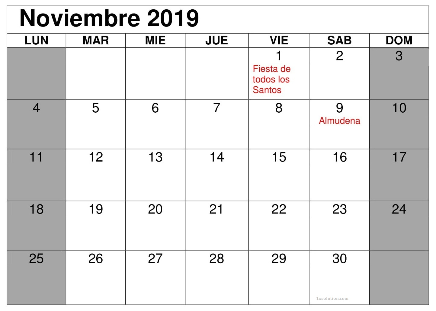 Calendario Noviembre 2019 Con Festivos Negocios