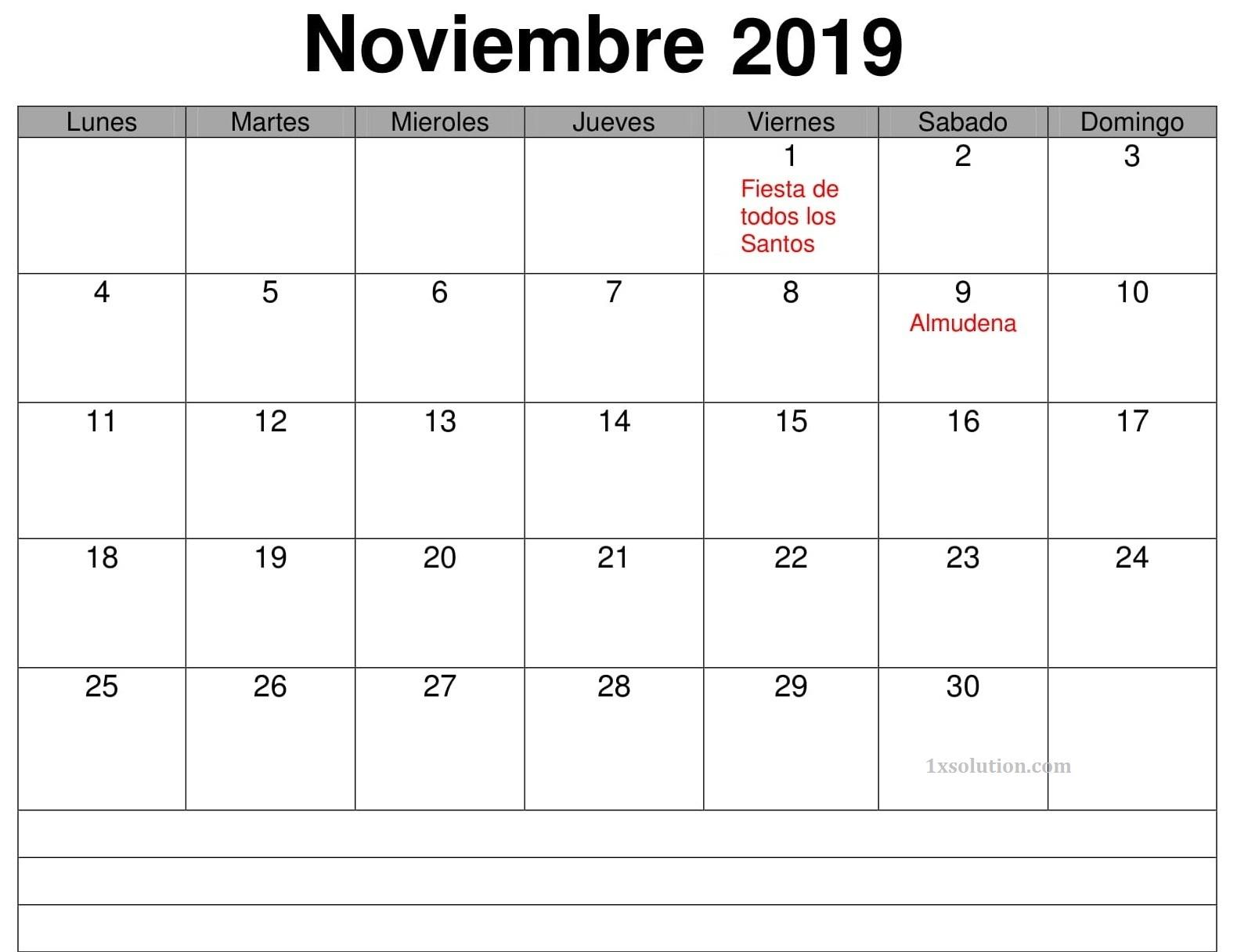 Calendario Noviembre 2019 Para Imprimir Editable