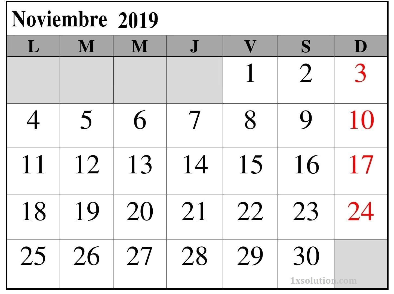 Calendario Noviembre 2019 Para Imprimir Excel
