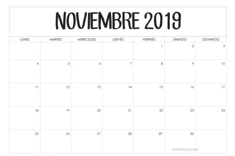 Calendario Noviembre 2019 Para Imprimir Negocios