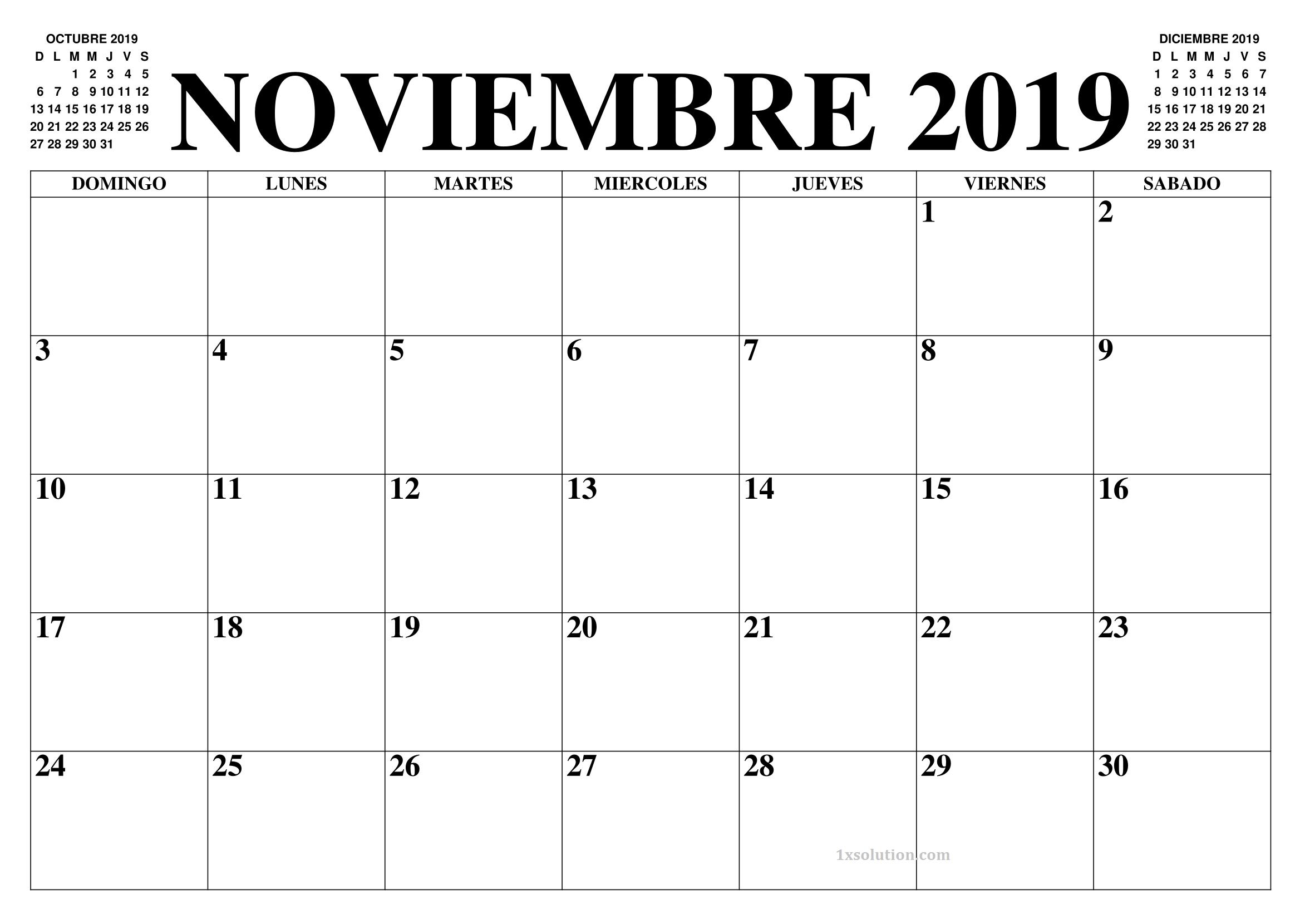 Calendario Noviembre 2019 Para Imprimir PDF
