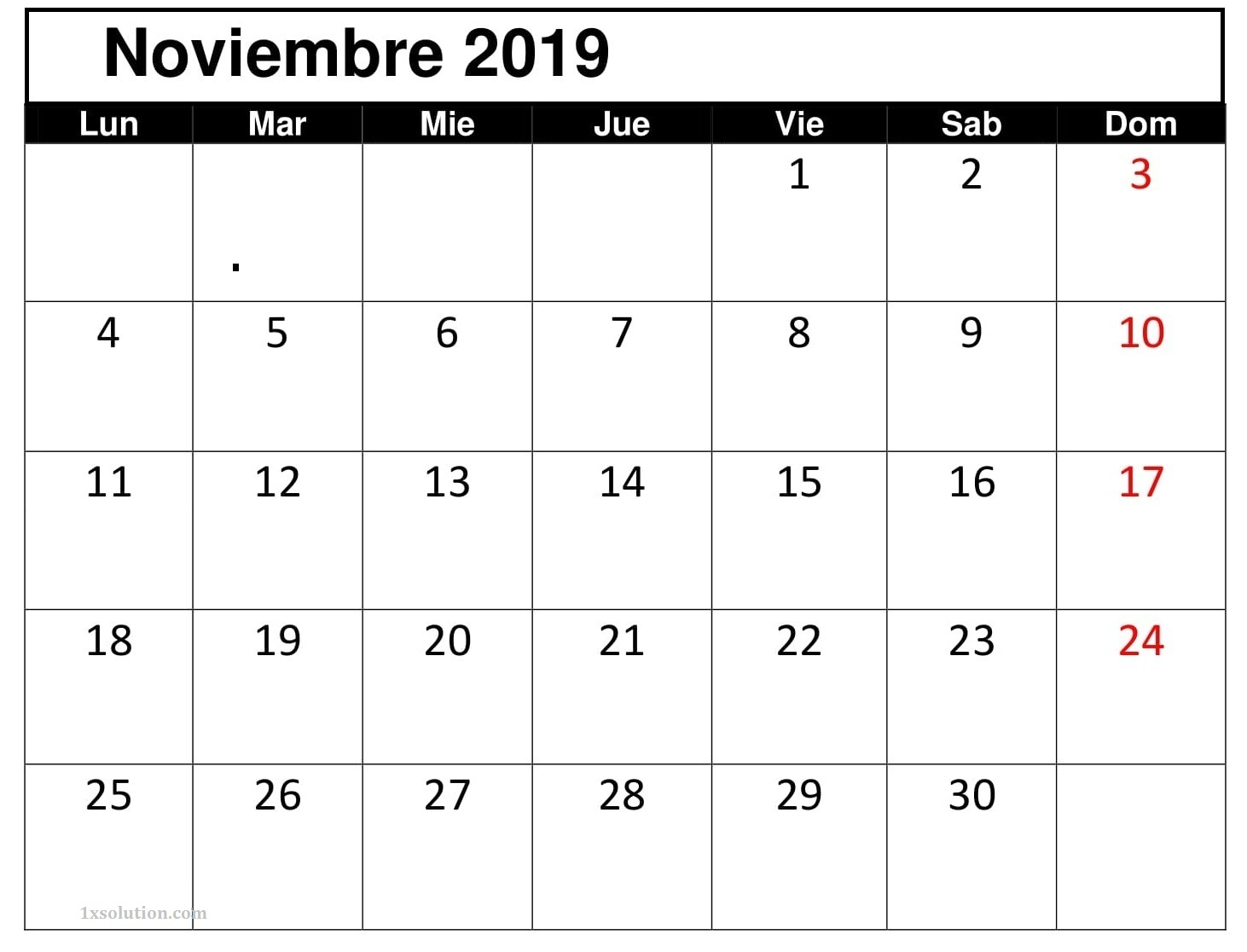 Calendario Noviembre 2019