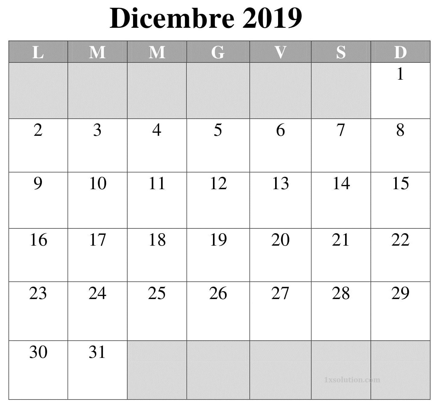 Calendario Titolo Dicembre 2019