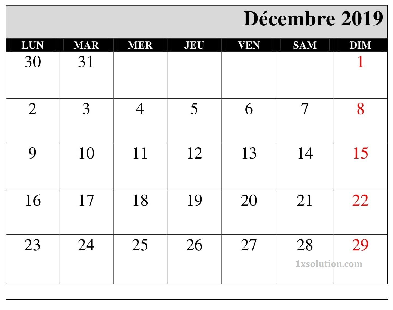 Calendrier 2019 Décembre Editable