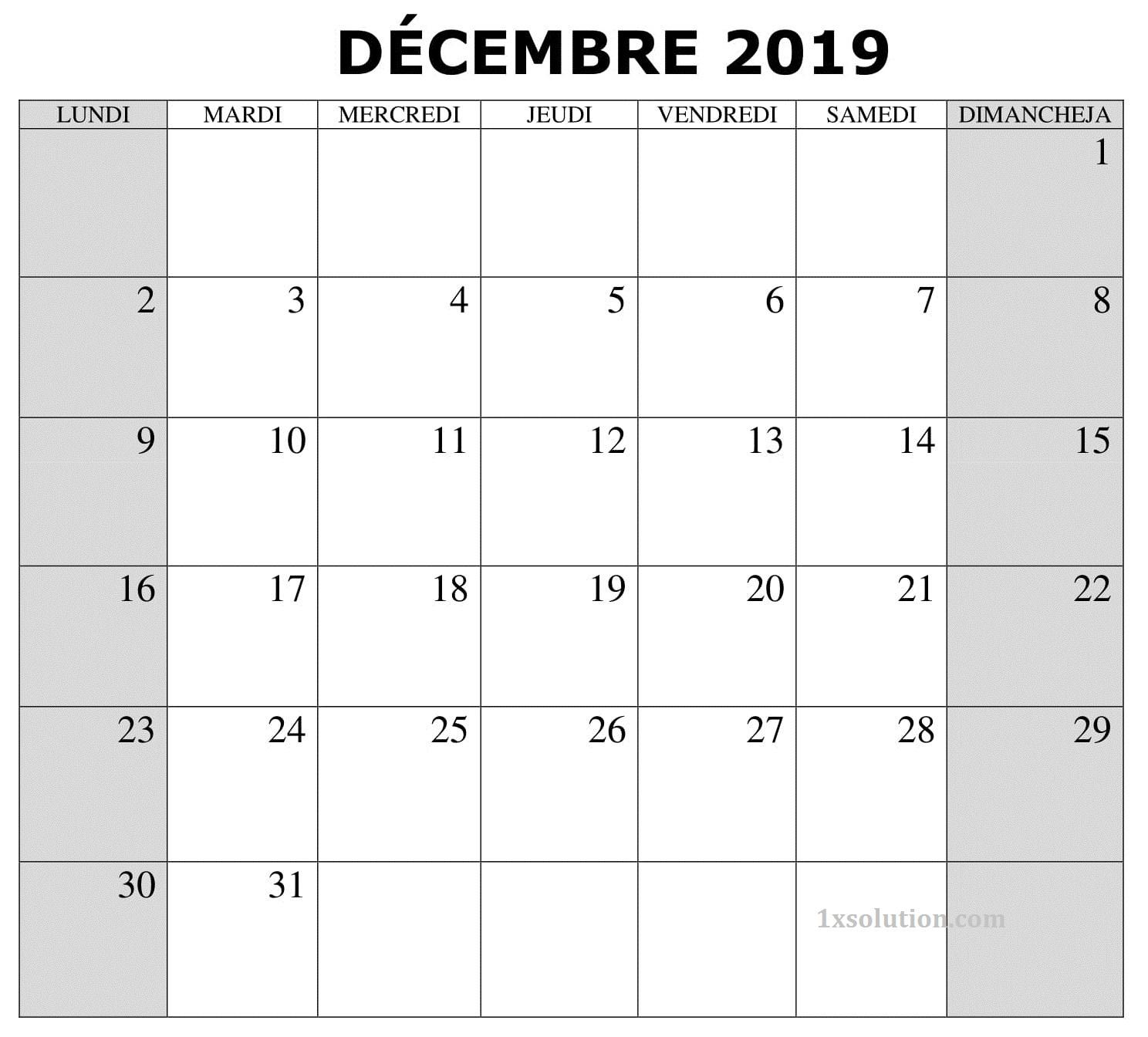 Calendrier 2019 Décembre