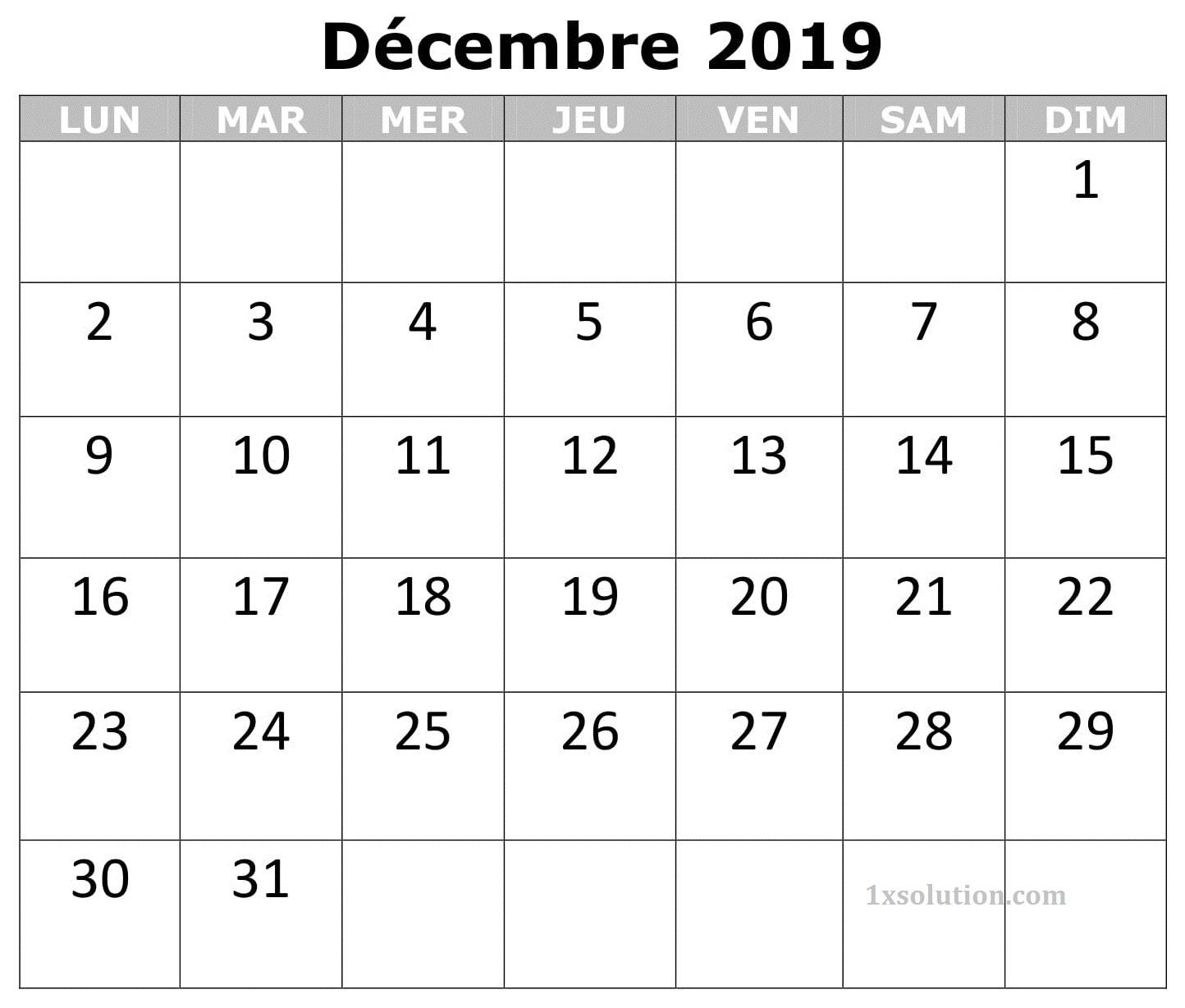 Calendrier 2019 Décembre Table