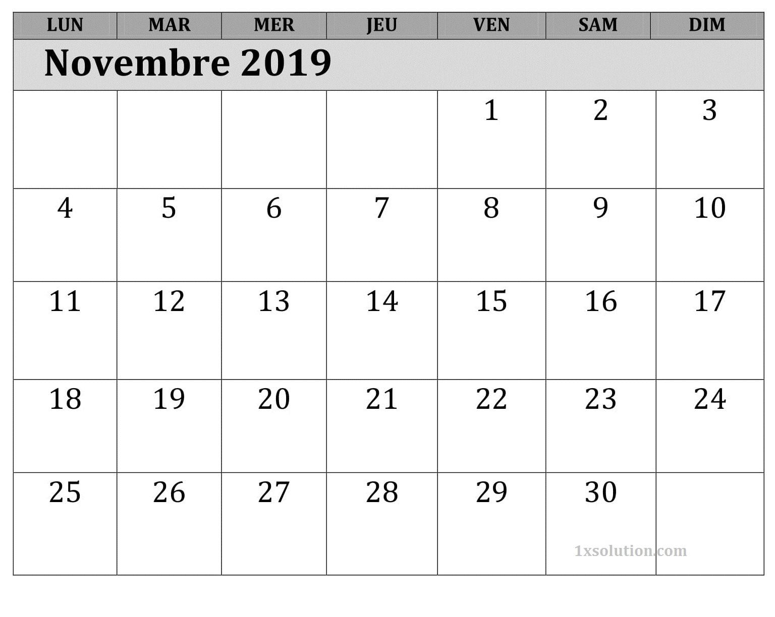 Calendrier 2019 Novembre Blanc
