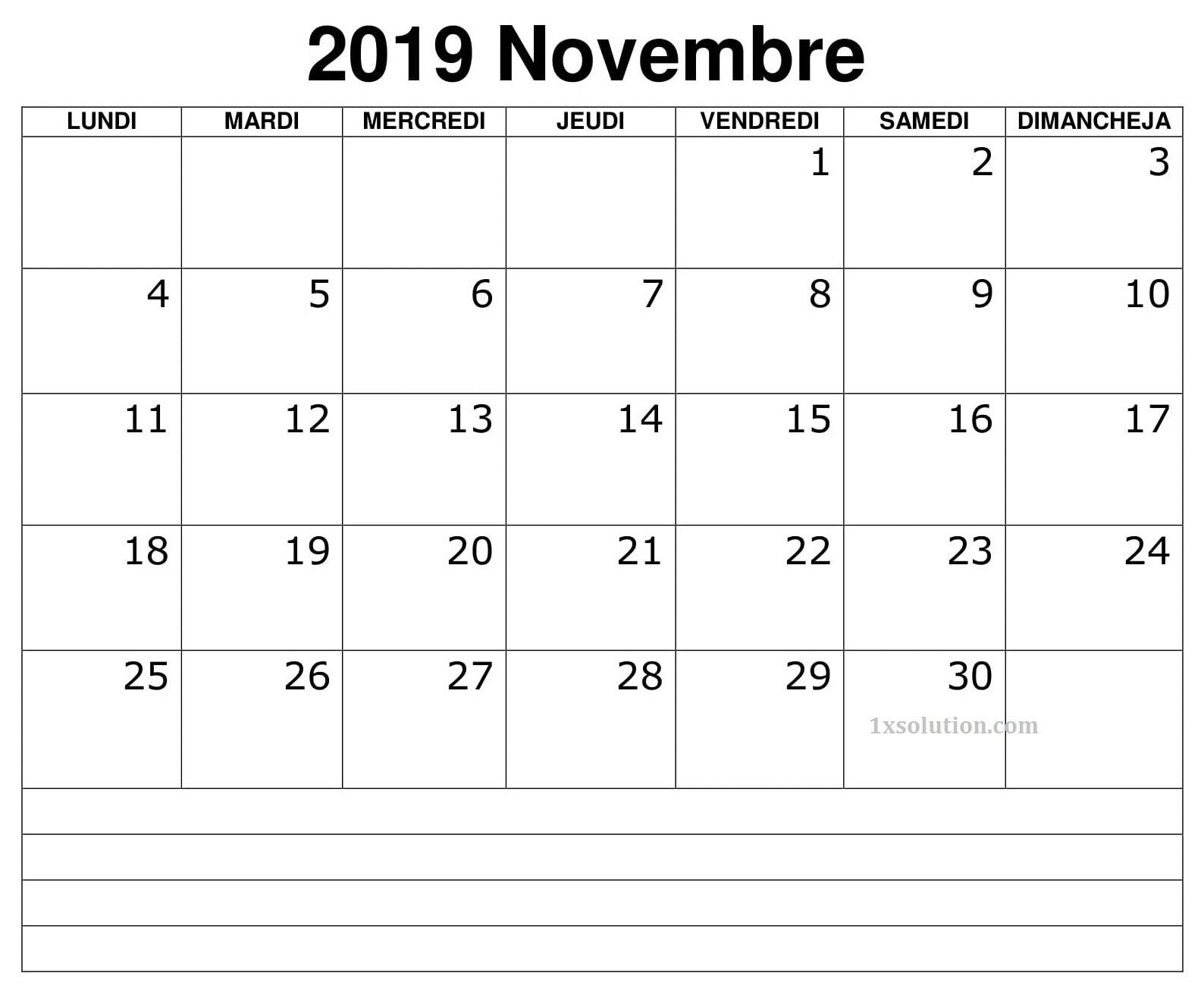 Calendrier 2019 Novembre