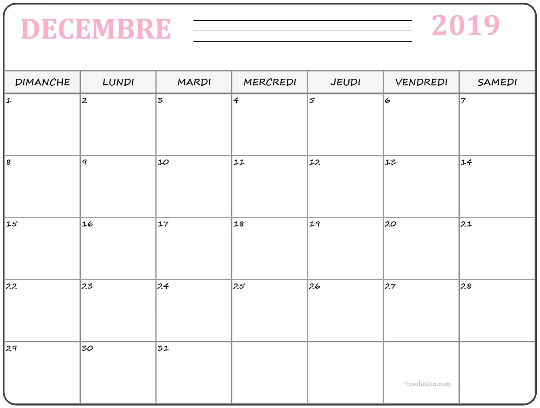 Calendrier Decembre 2019 A Imprimer