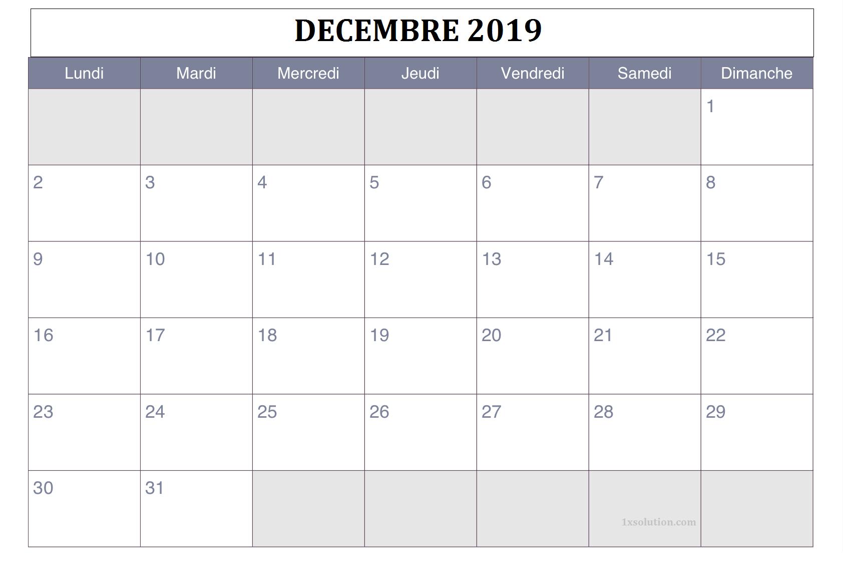 Calendrier Décembre 2019 A Imprimer