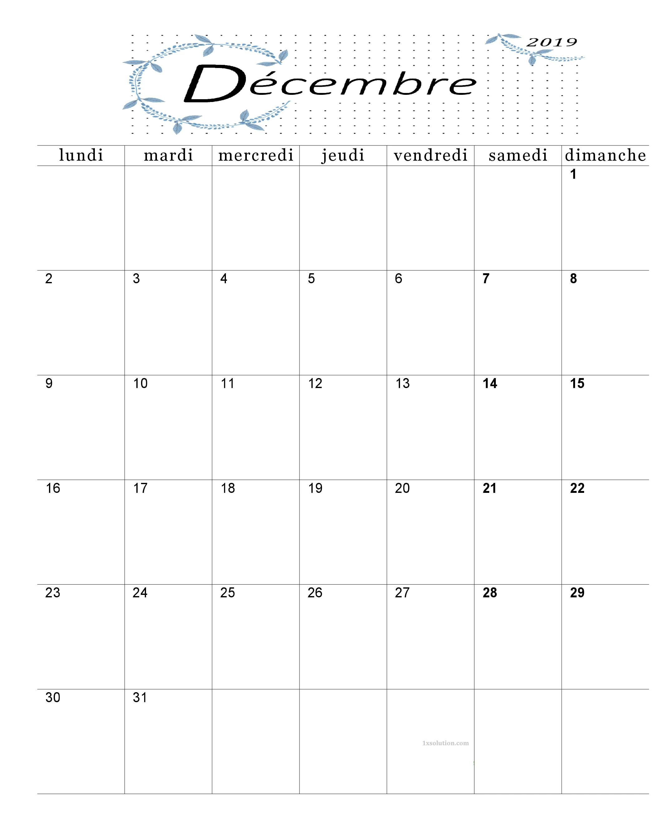 Calendrier Décembre 2019 A Imprimer Mois