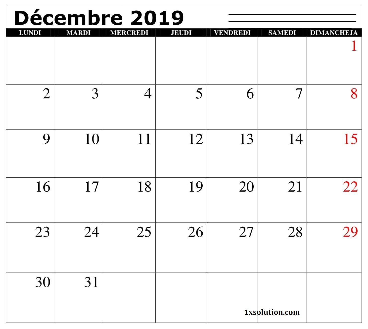 Calendrier Décembre 2019 A Imprimer Word