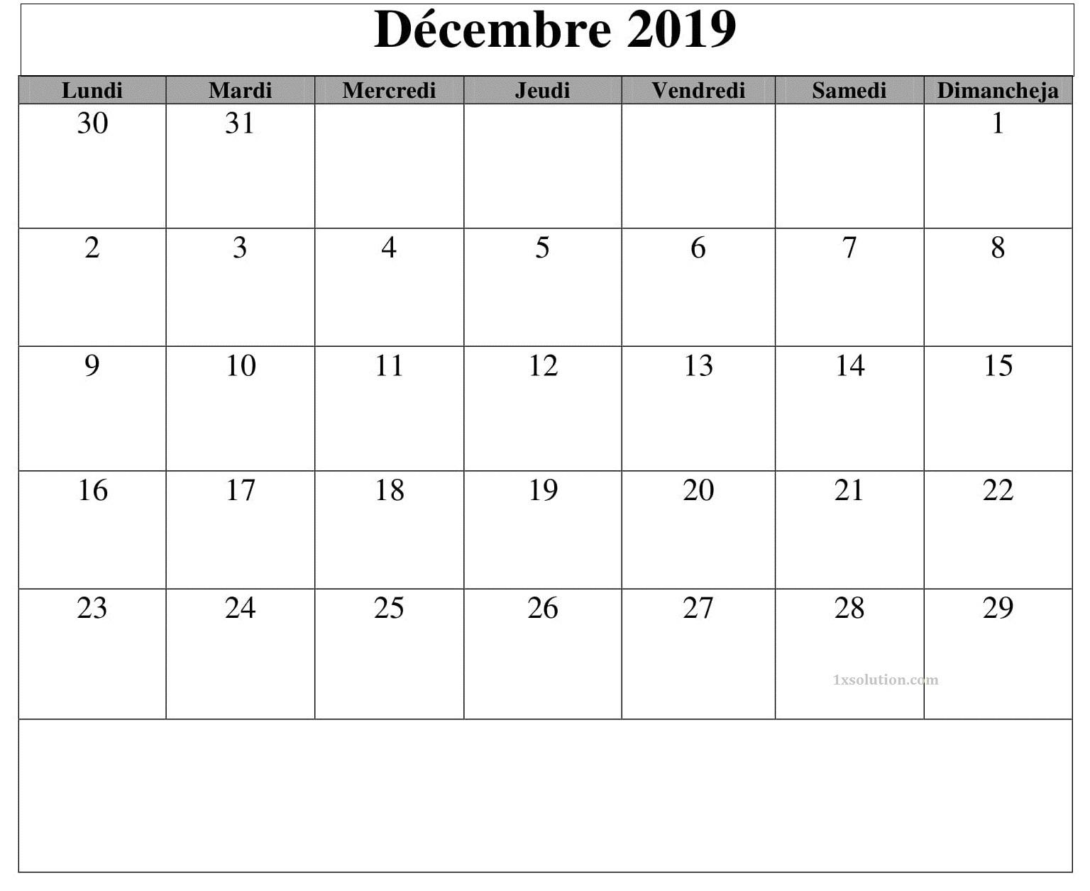 Calendrier Mensuel Decembre 2019.Calendrier Decembre 2019 Mensuel
