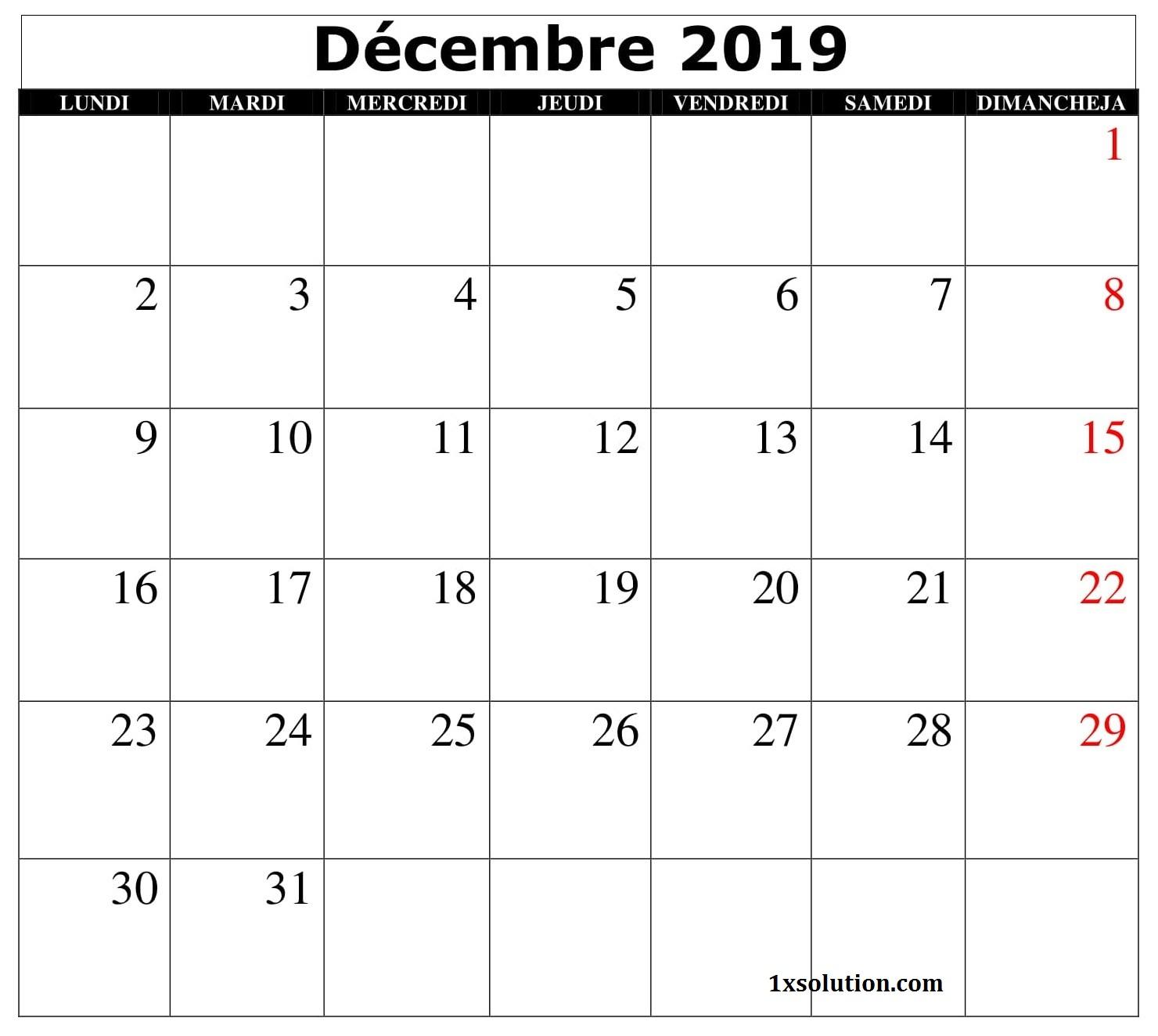 Calendrier Décembre 2019