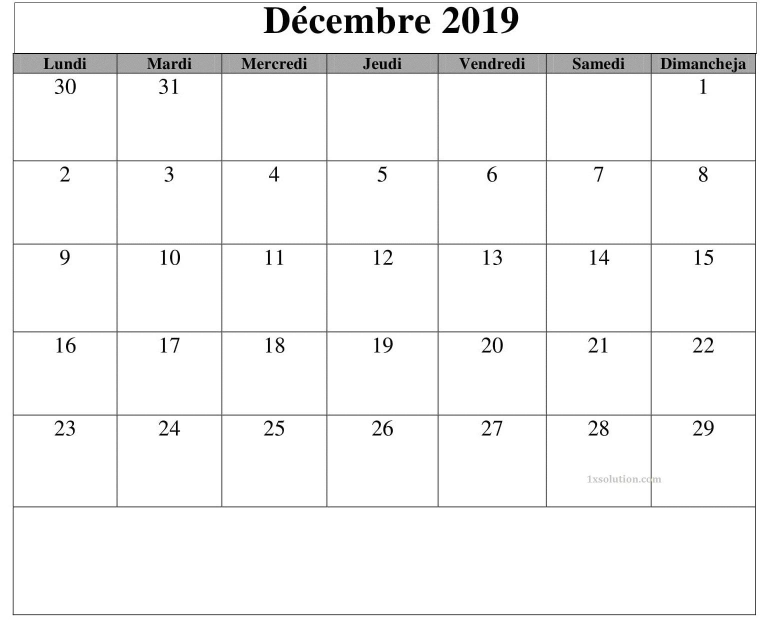 Calendrier Décembre 2019 PDF, Excel