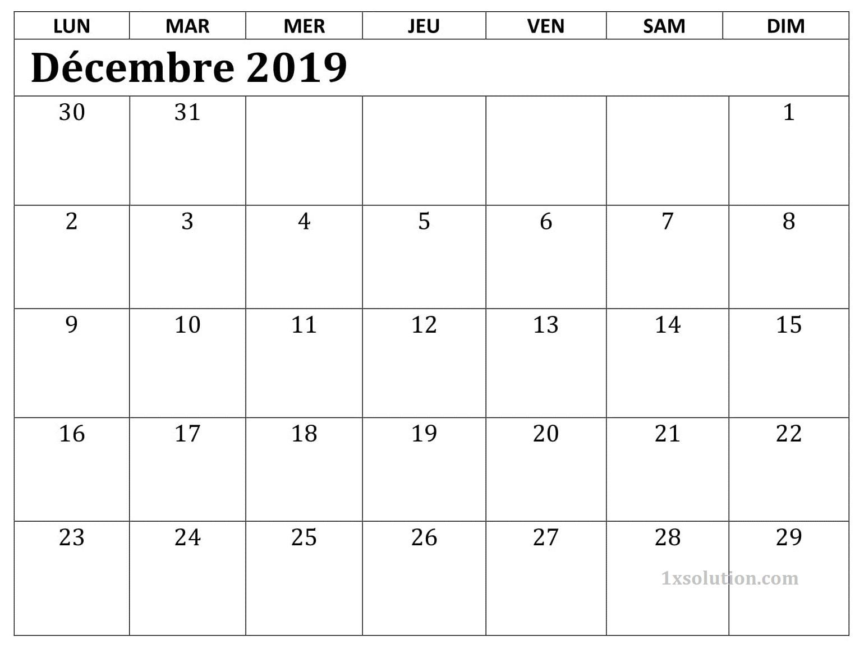 Calendrier Mensuel Décembre 2019 PDF